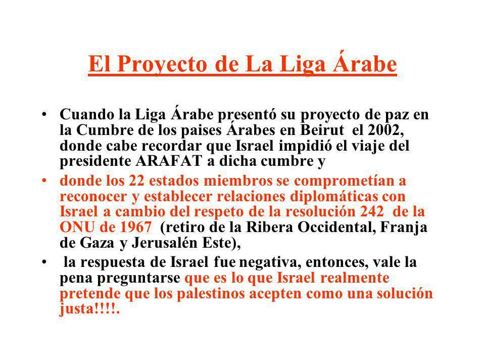 El Proyecto de La Liga Árabe Cuando la Liga Árabe presentó su proyecto de paz en la Cumbre de los paises Árabes en Beirut el 2002, donde cabe recordar