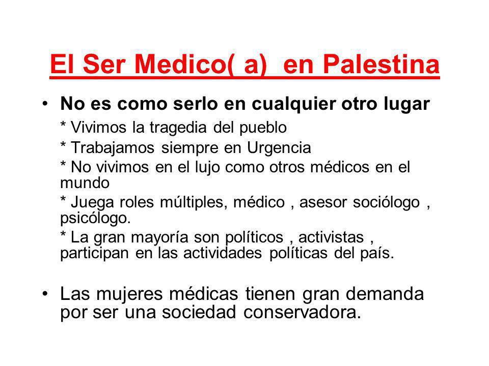 El Ser Medico( a) en Palestina No es como serlo en cualquier otro lugar * Vivimos la tragedia del pueblo * Trabajamos siempre en Urgencia * No vivimos