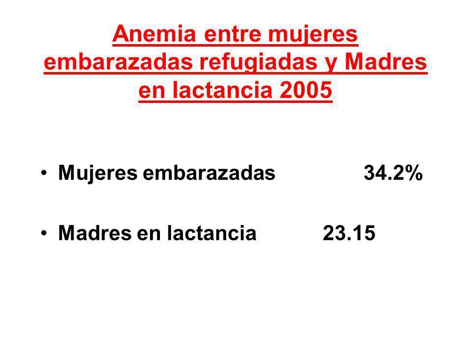 Anemia entre mujeres embarazadas refugiadas y Madres en lactancia 2005 Mujeres embarazadas 34.2% Madres en lactancia 23.15