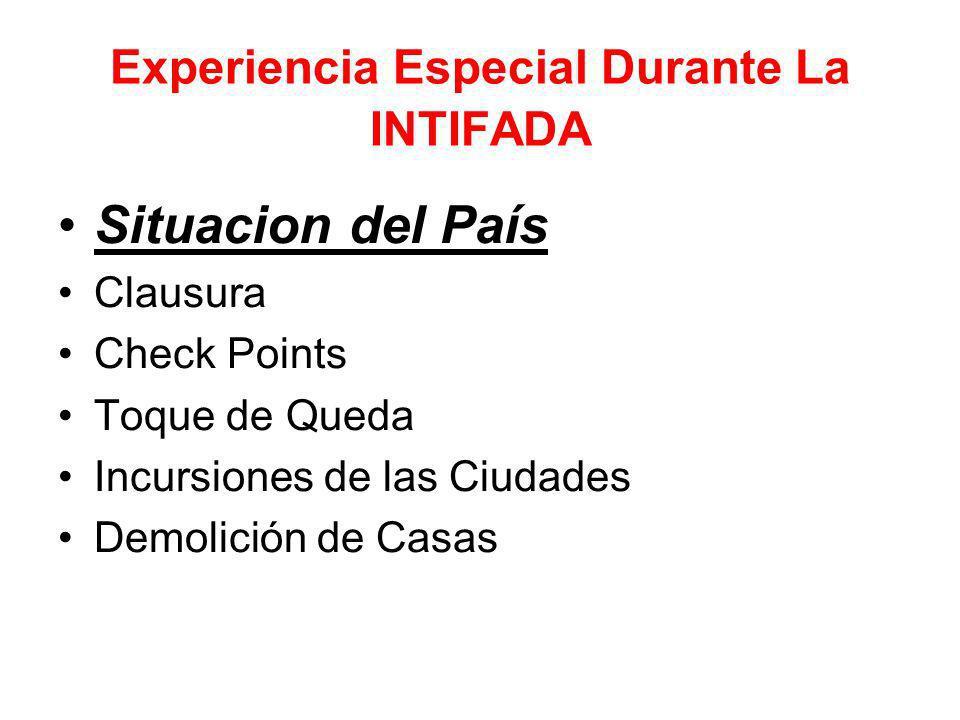 Experiencia Especial Durante La INTIFADA Situacion del País Clausura Check Points Toque de Queda Incursiones de las Ciudades Demolición de Casas