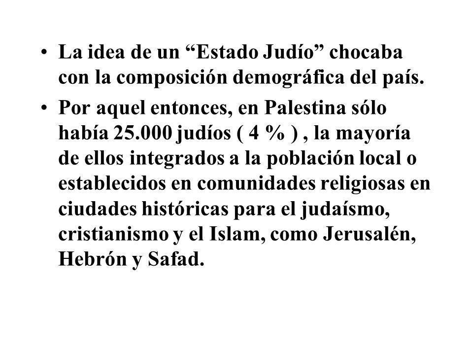 La idea de un Estado Judío chocaba con la composición demográfica del país. Por aquel entonces, en Palestina sólo había 25.000 judíos ( 4 % ), la mayo