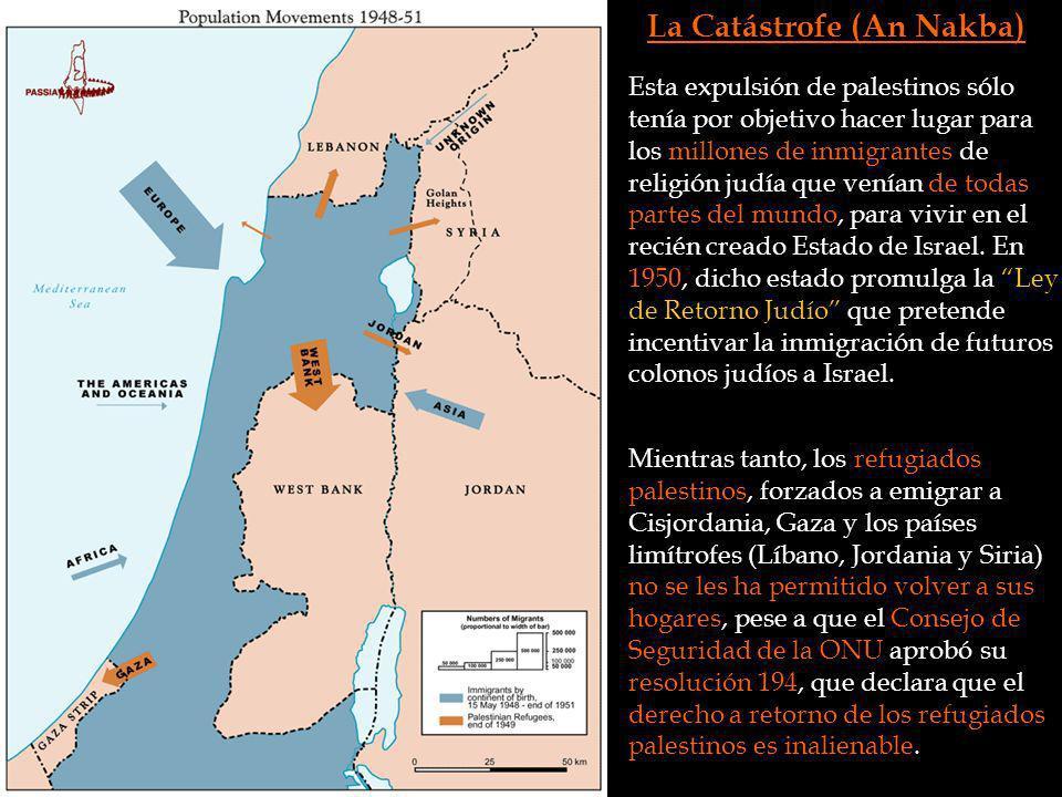 La Catástrofe (An Nakba) Esta expulsión de palestinos sólo tenía por objetivo hacer lugar para los millones de inmigrantes de religión judía que venía