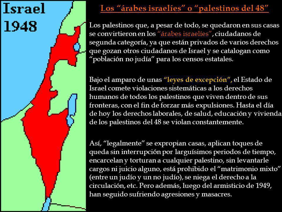 Los árabes israelíes o palestinos del 48 Los palestinos que, a pesar de todo, se quedaron en sus casas se convirtieron en los árabes israelíes, ciudad