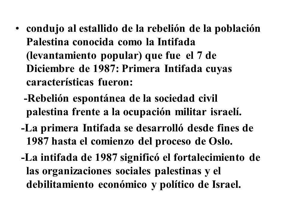 condujo al estallido de la rebelión de la población Palestina conocida como la Intifada (levantamiento popular) que fue el 7 de Diciembre de 1987: Pri