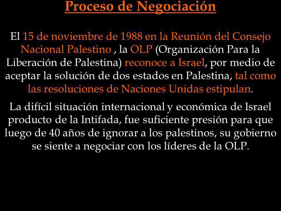 Proceso de Negociación La difícil situación internacional y económica de Israel producto de la Intifada, fue suficiente presión para que luego de 40 a