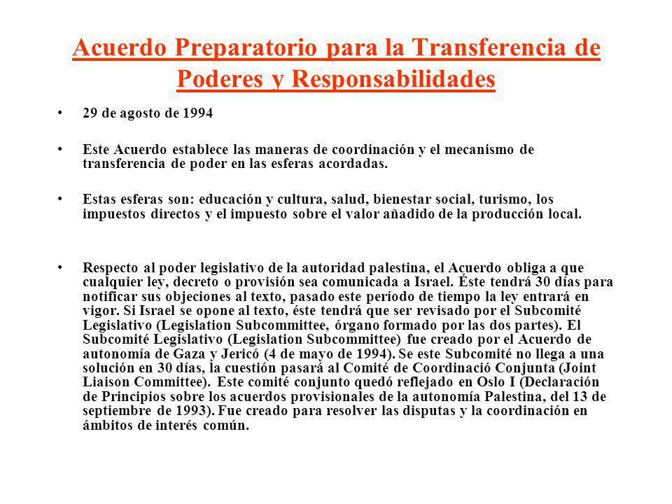 Acuerdo Preparatorio para la Transferencia de Poderes y Responsabilidades 29 de agosto de 1994 Este Acuerdo establece las maneras de coordinación y el