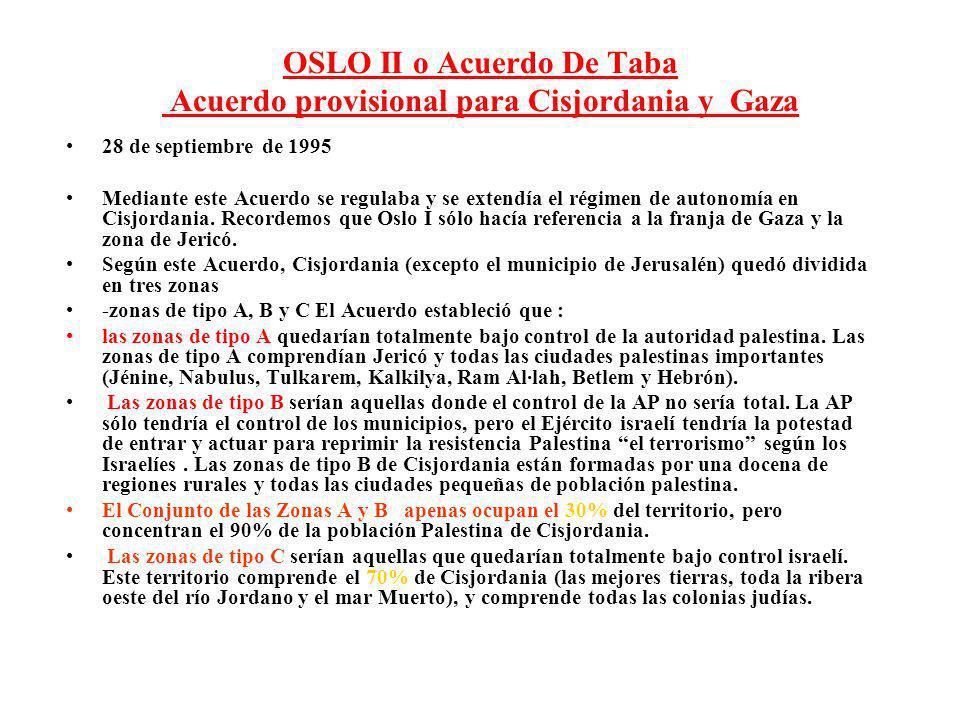 OSLO II o Acuerdo De Taba Acuerdo provisional para Cisjordania y Gaza 28 de septiembre de 1995 Mediante este Acuerdo se regulaba y se extendía el régi