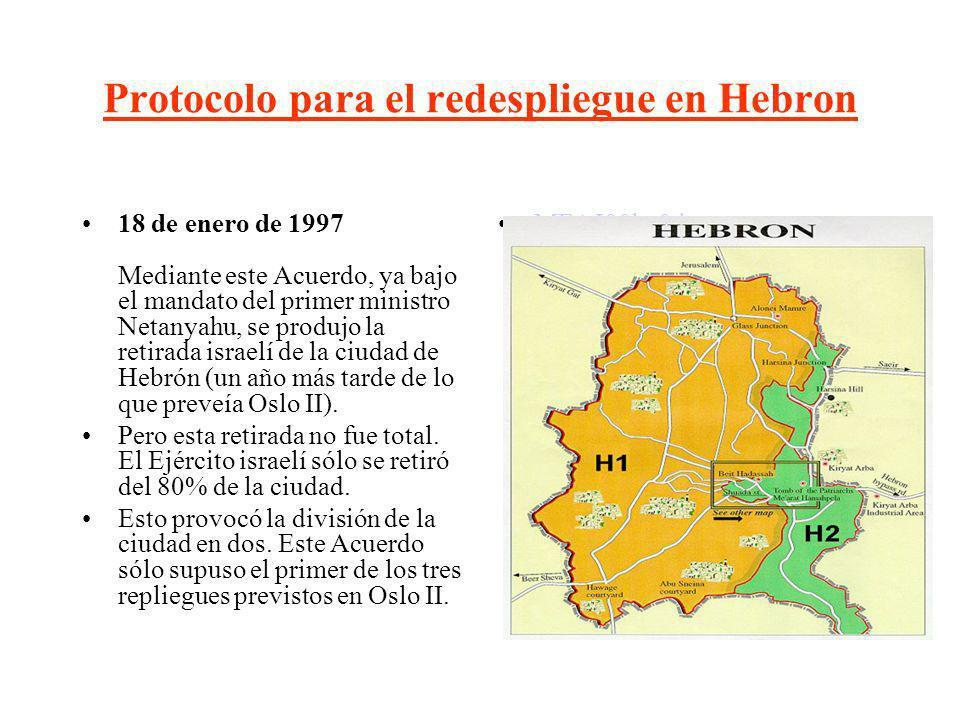 Protocolo para el redespliegue en Hebron 18 de enero de 1997 Mediante este Acuerdo, ya bajo el mandato del primer ministro Netanyahu, se produjo la re