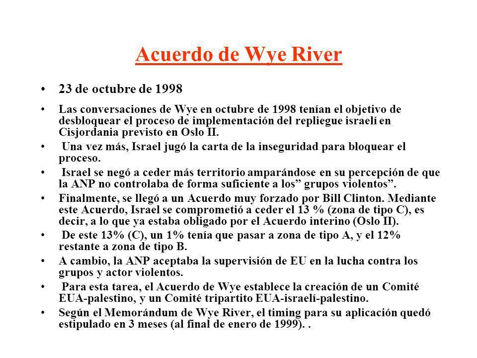 Acuerdo de Wye River 23 de octubre de 1998 Las conversaciones de Wye en octubre de 1998 tenían el objetivo de desbloquear el proceso de implementación