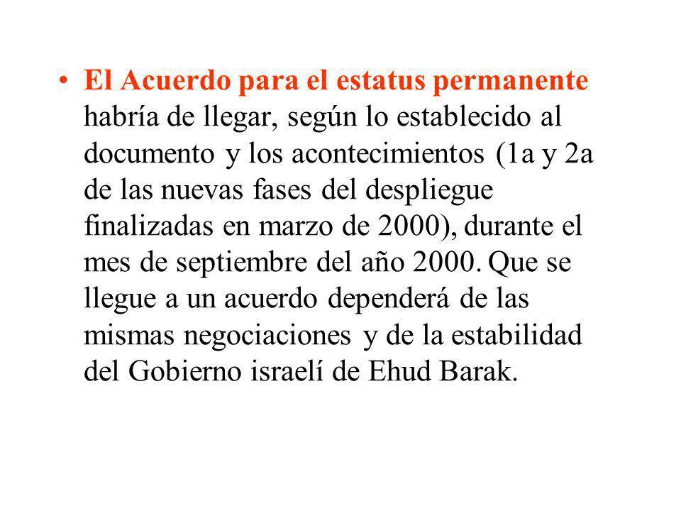 El Acuerdo para el estatus permanente habría de llegar, según lo establecido al documento y los acontecimientos (1a y 2a de las nuevas fases del despl