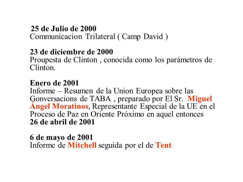 25 de Julio de 2000 Communicacion Trilateral ( Camp David ) 23 de diciembre de 2000 Proupesta de Clinton, conocida como los parámetros de Clinton. Ene