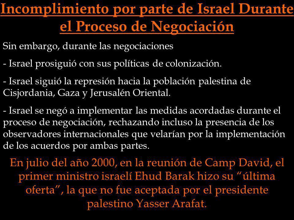 Incomplimiento por parte de Israel Durante el Proceso de Negociación Sin embargo, durante las negociaciones - Israel prosiguió con sus políticas de co