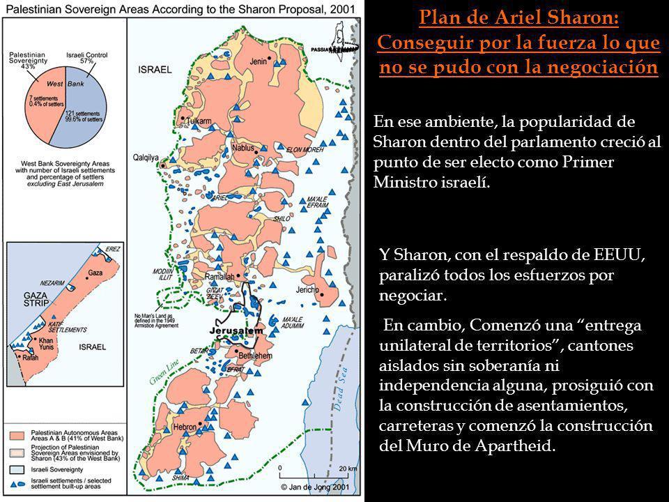 Plan de Ariel Sharon: Conseguir por la fuerza lo que no se pudo con la negociación En ese ambiente, la popularidad de Sharon dentro del parlamento cre