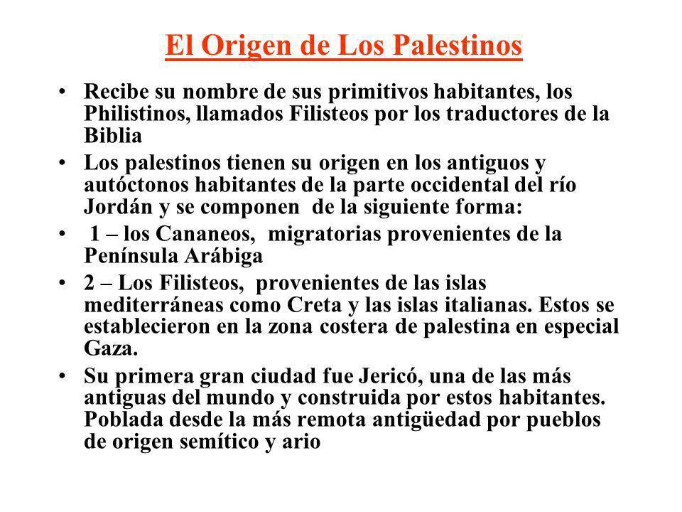 Algunos Pueblos que se han establecido en Palestina Cananeos y Filisteos (3000- 1468aC) Origen de los Palestinos Egipcios (1468-975 aC) Hebreos (975-586 aC) Asirios (700-612 aC) Babilonios (586-539 aC) Griegos Macedonios (332-63 aC) Romanos (63 aC-636 dC) Árabes (636-1260 dC) Cruzados (1099-1290 dC) Mamelucos – Egipcios (1253-1516 dC) Otomanos (1516-1918 dC) Británicos (1923-1947 dC) Israelíes (1948-hoy) Persas (539-332 aC)
