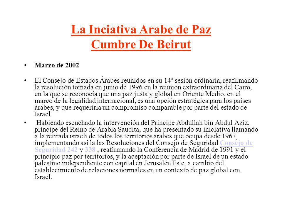 La Inciativa Arabe de Paz Cumbre De Beirut Marzo de 2002 El Consejo de Estados Árabes reunidos en su 14ª sesión ordinaria, reafirmando la resolución t