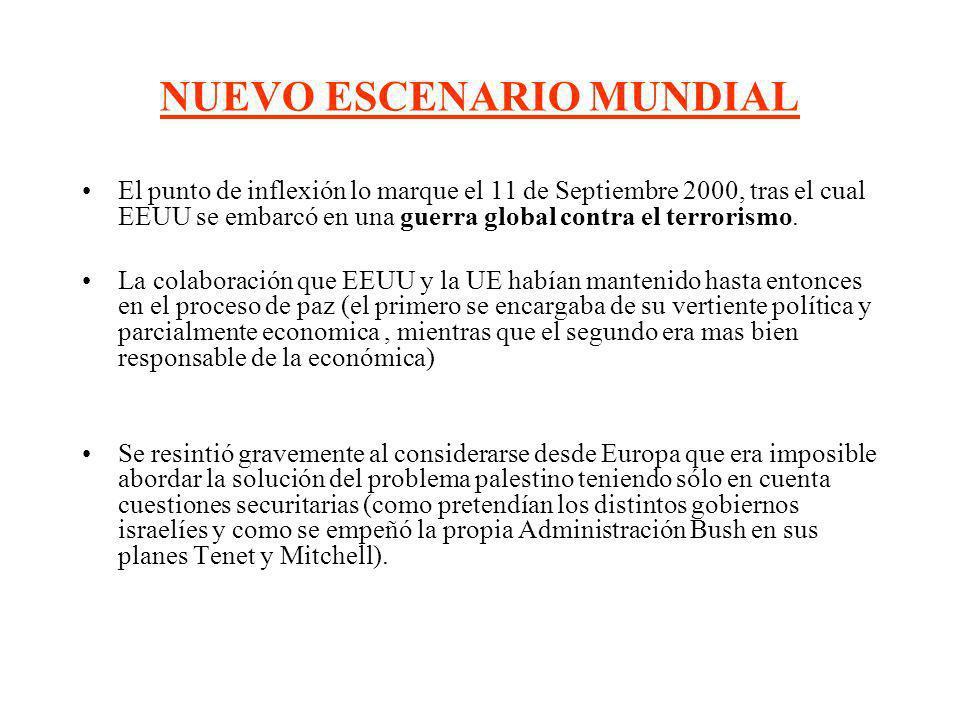 NUEVO ESCENARIO MUNDIAL El punto de inflexión lo marque el 11 de Septiembre 2000, tras el cual EEUU se embarcó en una guerra global contra el terroris