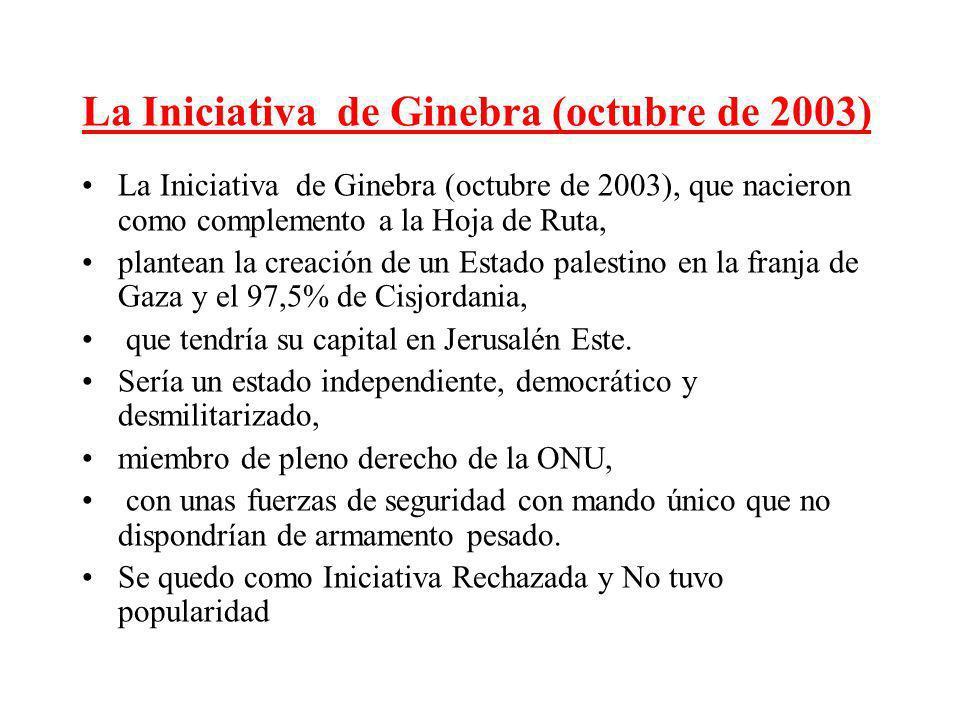 La Iniciativa de Ginebra (octubre de 2003) La Iniciativa de Ginebra (octubre de 2003), que nacieron como complemento a la Hoja de Ruta, plantean la cr
