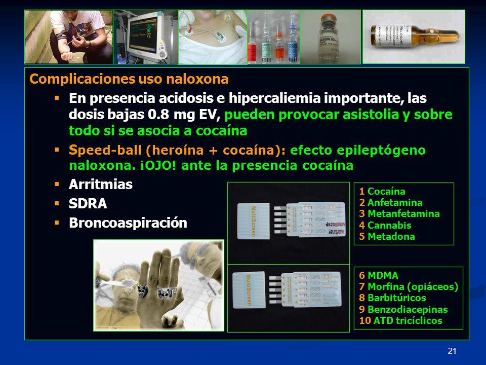 21 Complicaciones uso naloxona En presencia acidosis e hipercaliemia importante, las dosis bajas 0.8 mg EV, pueden provocar asistolia y sobre todo si