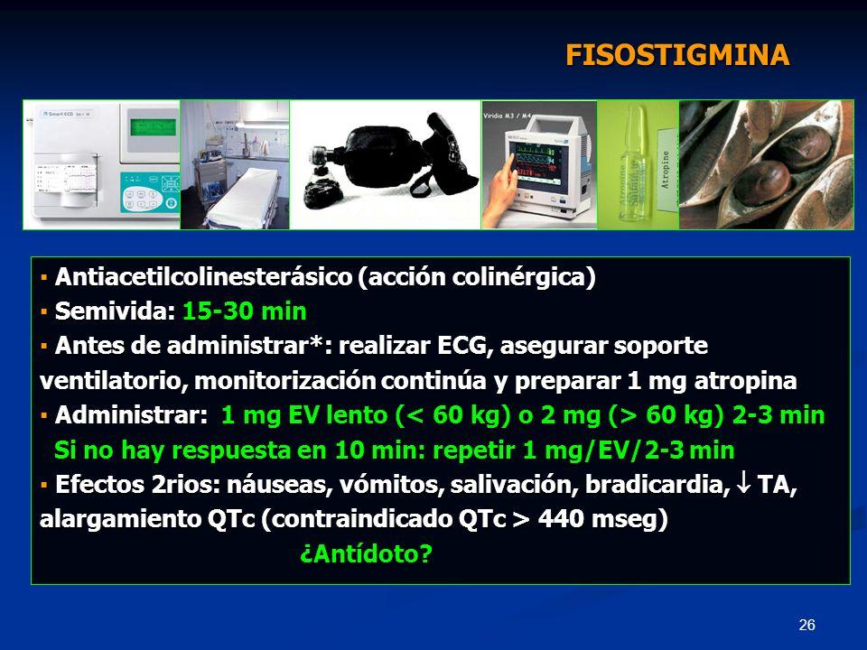 26 Antiacetilcolinesterásico (acción colinérgica) Antiacetilcolinesterásico (acción colinérgica) Semivida: 15-30 min Semivida: 15-30 min Antes de admi