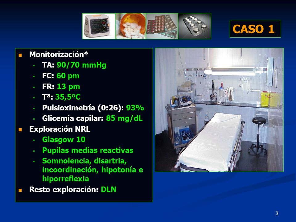 64 Monitorización* Monitorización* TA: 120/75 mmHg TA: 120/75 mmHg FC: 55 pm FC: 55 pm FR: 10 pm FR: 10 pm Tª: 35,5ºC Tª: 35,5ºC Pulsioximetría (0:21): 98% Pulsioximetría (0:21): 98% Glicemia capilar: 104 mg/dL* Glicemia capilar: 104 mg/dL* Pupilas?* Pupilas?* ECG.