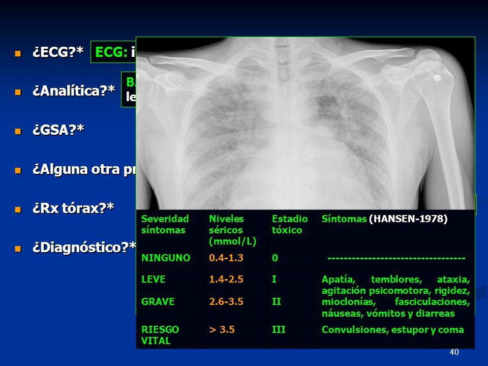 40 BÁSICA: hiperglicemia, insuficiencia renal y leucocitosis con neutrofilia ¿ECG?* ¿ECG?* ¿Analítica?* ¿Analítica?* ¿GSA?* ¿GSA?* ¿Alguna otra prueba