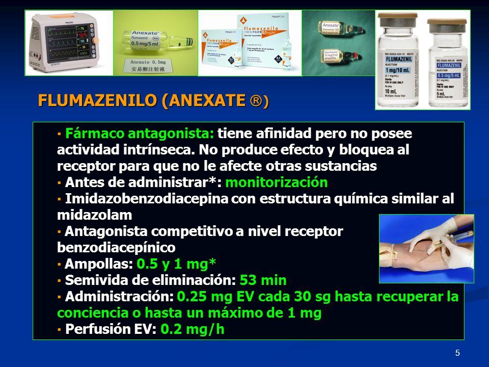 26 Antiacetilcolinesterásico (acción colinérgica) Antiacetilcolinesterásico (acción colinérgica) Semivida: 15-30 min Semivida: 15-30 min Antes de administrar*: realizar ECG, asegurar soporte Antes de administrar*: realizar ECG, asegurar soporte ventilatorio, monitorización continúa y preparar 1 mg atropina Administrar: 1 mg EV lento ( 60 kg) 2-3 min Administrar: 1 mg EV lento ( 60 kg) 2-3 min Si no hay respuesta en 10 min: repetir 1 mg/EV/2-3 min Si no hay respuesta en 10 min: repetir 1 mg/EV/2-3 min Efectos 2rios: náuseas, vómitos, salivación, bradicardia, TA, Efectos 2rios: náuseas, vómitos, salivación, bradicardia, TA, alargamiento QTc (contraindicado QTc > 440 mseg) ¿Antídoto.