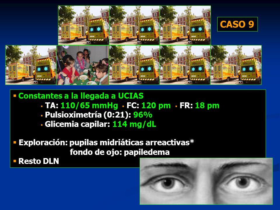 57 Constantes a la llegada a UCIAS TA: 110/65 mmHg FC: 120 pm FR: 18 pm Pulsioximetría (0:21): 96% Glicemia capilar: 114 mg/dL Exploración: pupilas mi