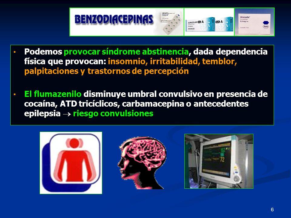 47 Monitorización* Monitorización* TA: 180/90 mmHg TA: 180/90 mmHg FC: 150 pm FC: 150 pm FR: 26 pm FR: 26 pm Tª: 38,5º C Tª: 38,5º C Pulsioximetría (0:24): 96% Pulsioximetría (0:24): 96% Exploración Exploración Paciente sudoroso y caliente Paciente sudoroso y caliente AC: taquicardico y sin soplos AC: taquicardico y sin soplos AR: no roncus ni sibilancias AR: no roncus ni sibilancias ABD: DLN ABD: DLN NR: pupilas midriáticas, Glasgow 13 (O: 4 + V: 4 + M: 5), agitado, confuso.