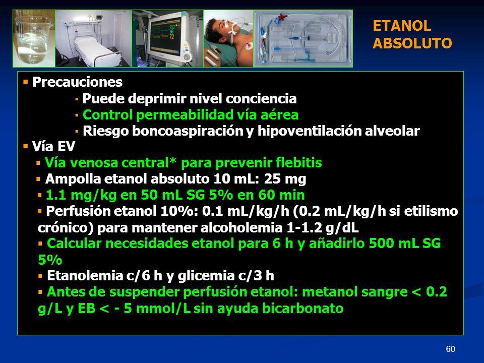 60 Precauciones Puede deprimir nivel conciencia Control permeabilidad vía aérea Riesgo boncoaspiración y hipoventilación alveolar Vía EV Vía venosa ce