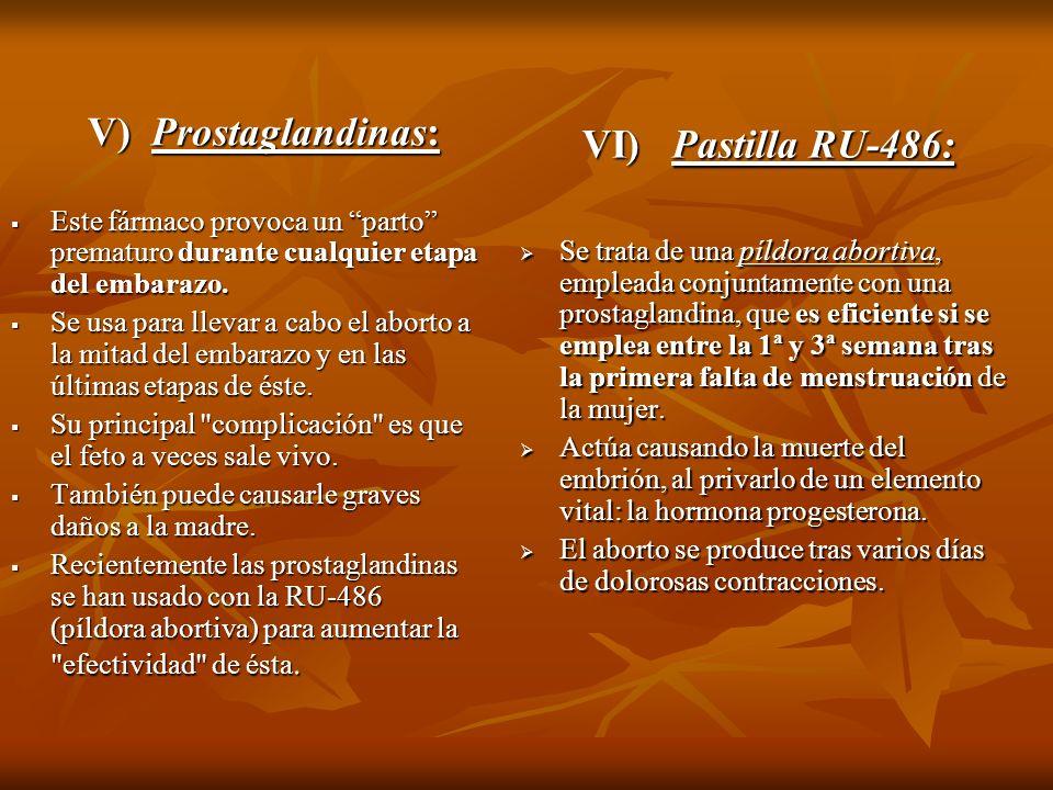 V) Prostaglandinas: Este fármaco provoca un parto prematuro durante cualquier etapa del embarazo. Este fármaco provoca un parto prematuro durante cual