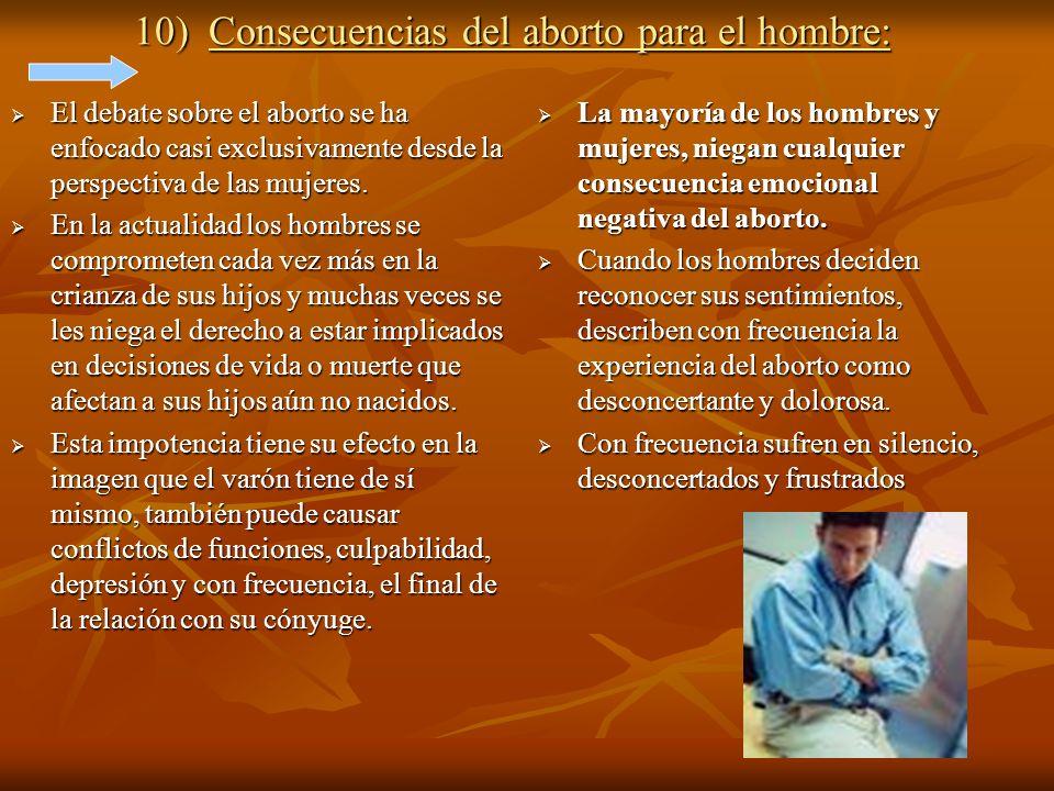 10) Consecuencias del aborto para el hombre: El debate sobre el aborto se ha enfocado casi exclusivamente desde la perspectiva de las mujeres. El deba