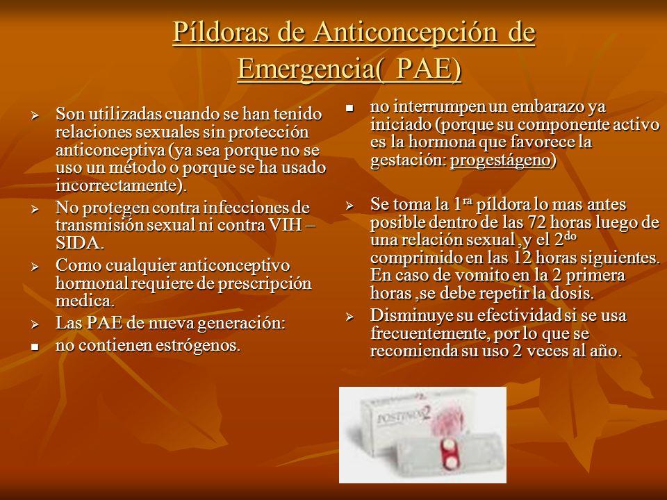 Píldoras de Anticoncepción de Emergencia( PAE) Píldoras de Anticoncepción de Emergencia( PAE) Son utilizadas cuando se han tenido relaciones sexuales