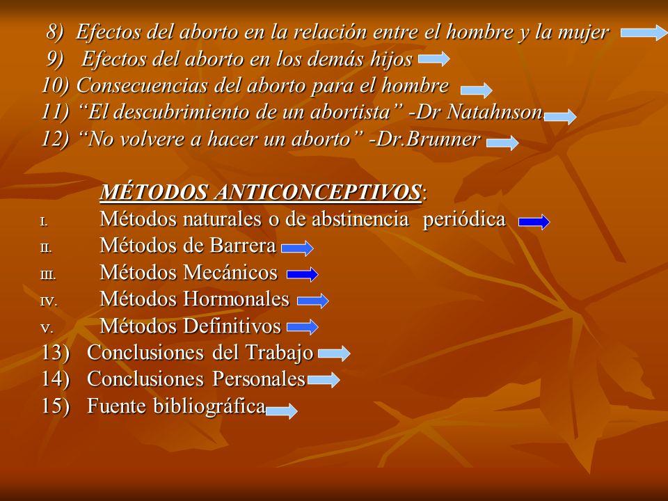 8) Efectos del aborto en la relación entre el hombre y la mujer 8) Efectos del aborto en la relación entre el hombre y la mujer 9) Efectos del aborto