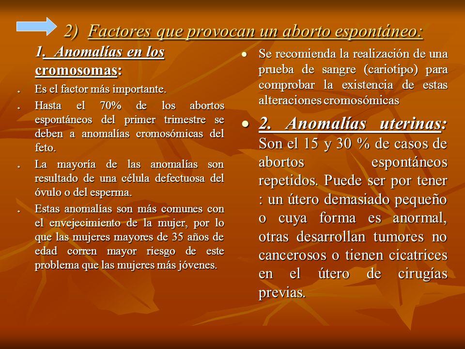 2) Factores que provocan un aborto espontáneo: 1. Anomalías en los cromosomas: Es el factor más importante. Es el factor más importante. Hasta el 70%