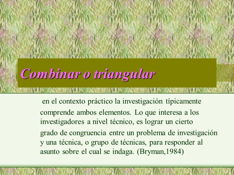 Combinar o triangular en el contexto práctico la investigación típicamente comprende ambos elementos. Lo que interesa a los investigadores a nivel téc