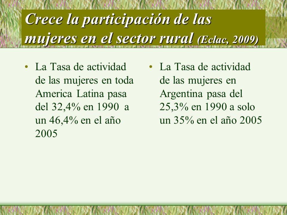 Crece la participación de las mujeres en el sector rural (Eclac, 2009) La Tasa de actividad de las mujeres en toda America Latina pasa del 32,4% en 19