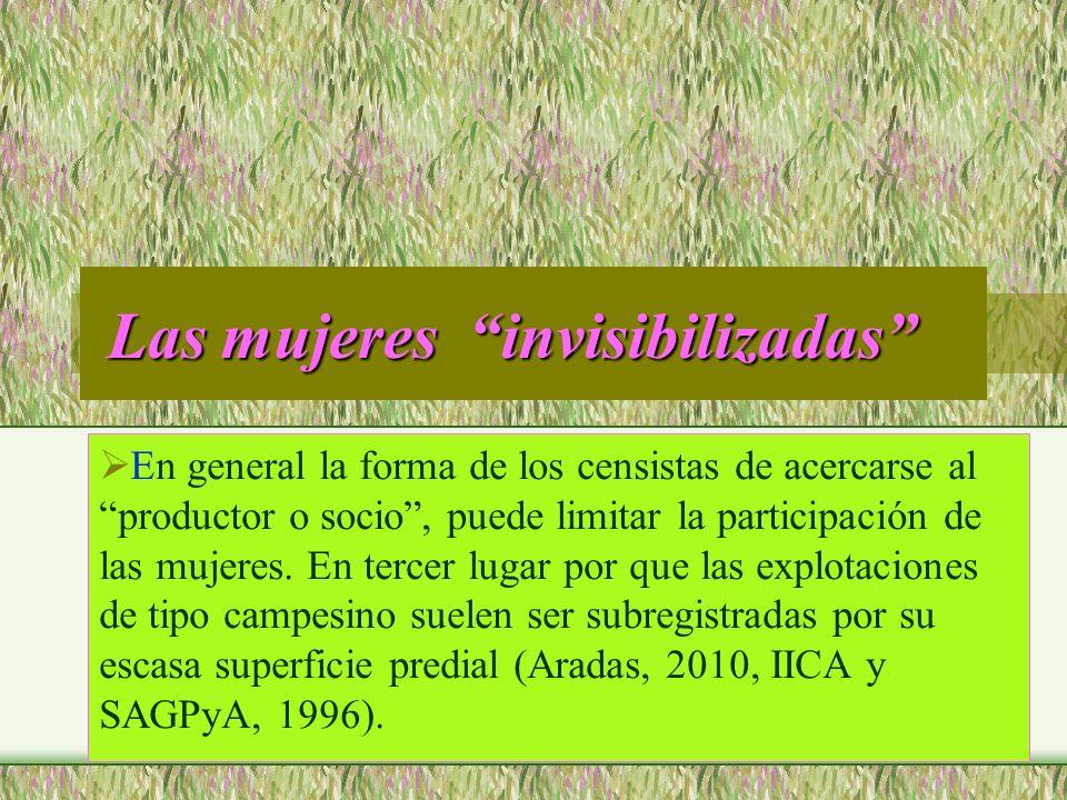 Las mujeres invisibilizadas Las mujeres invisibilizadas En general la forma de los censistas de acercarse al productor o socio, puede limitar la parti
