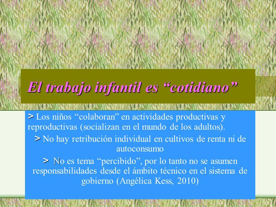 El trabajo infantil es cotidiano El trabajo infantil es cotidiano > > Los niños colaboran en actividades productivas y reproductivas (socializan en el