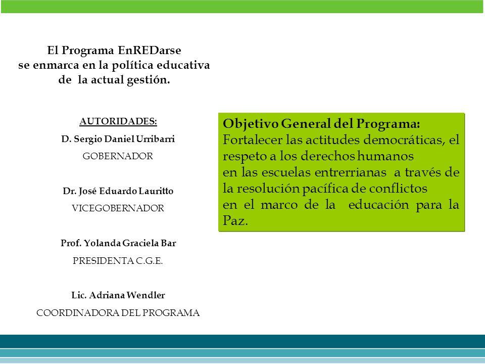 AUTORIDADES: D. Sergio Daniel Urribarri GOBERNADOR Dr. José Eduardo Lauritto VICEGOBERNADOR Prof. Yolanda Graciela Bar PRESIDENTA C.G.E. Lic. Adriana