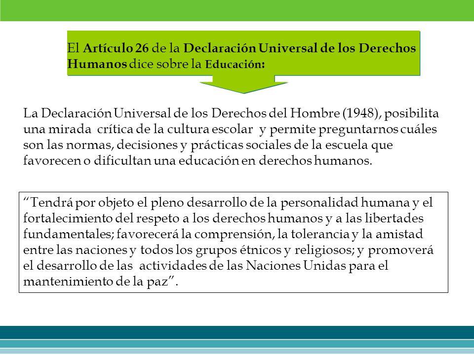 La Declaración Universal de los Derechos del Hombre (1948), posibilita una mirada crítica de la cultura escolar y permite preguntarnos cuáles son las