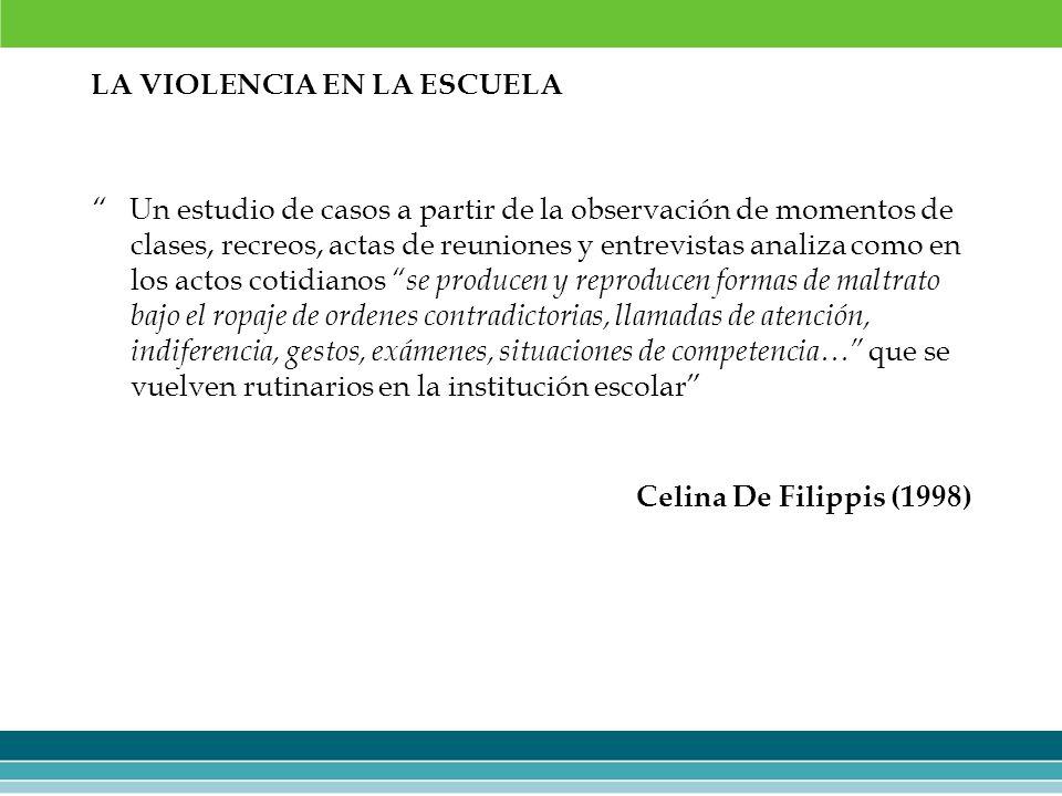 LA VIOLENCIA EN LA ESCUELA Un estudio de casos a partir de la observación de momentos de clases, recreos, actas de reuniones y entrevistas analiza com