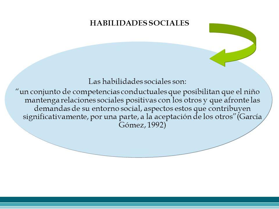 HABILIDADES SOCIALES Las habilidades sociales son: un conjunto de competencias conductuales que posibilitan que el niño mantenga relaciones sociales p