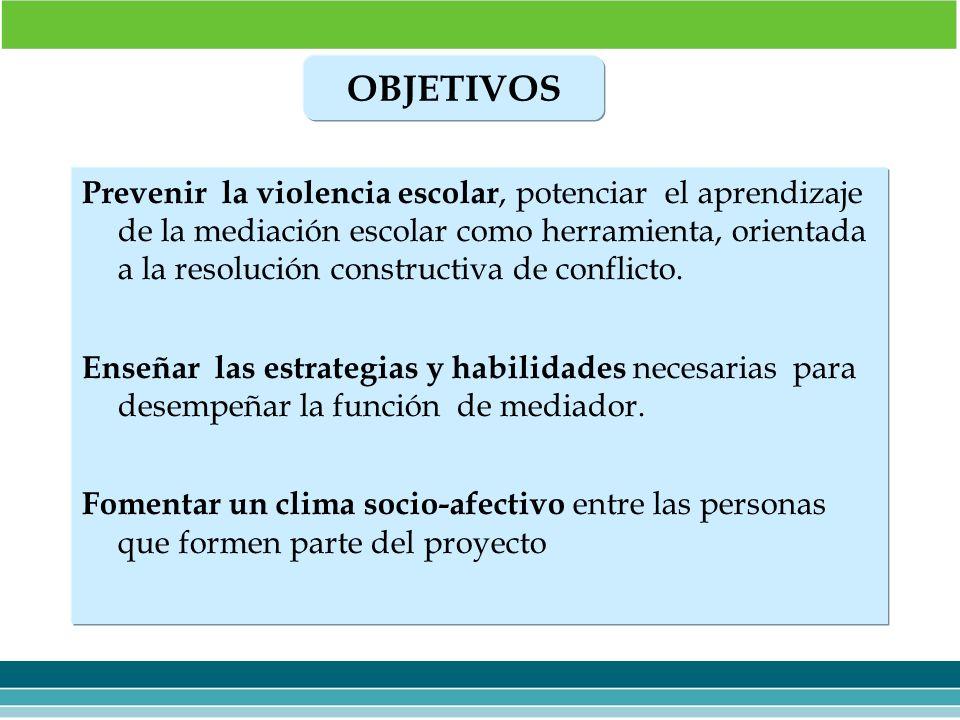 Prevenir la violencia escolar, potenciar el aprendizaje de la mediación escolar como herramienta, orientada a la resolución constructiva de conflicto.