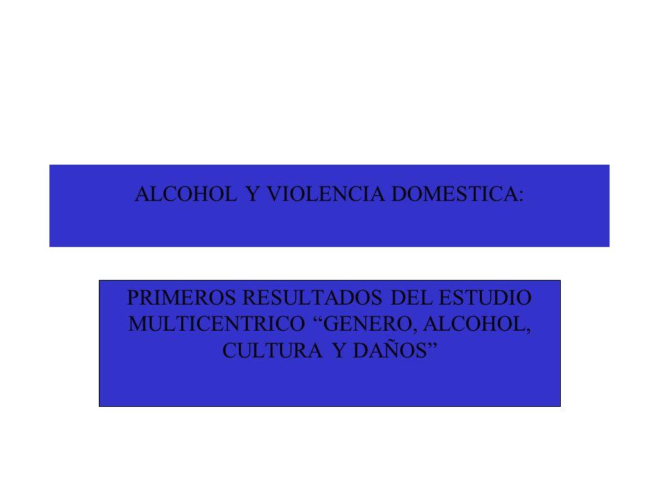 ALCOHOL Y VIOLENCIA DOMESTICA: PRIMEROS RESULTADOS DEL ESTUDIO MULTICENTRICO GENERO, ALCOHOL, CULTURA Y DAÑOS