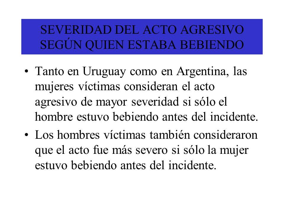SEVERIDAD DEL ACTO AGRESIVO SEGÚN QUIEN ESTABA BEBIENDO Tanto en Uruguay como en Argentina, las mujeres víctimas consideran el acto agresivo de mayor