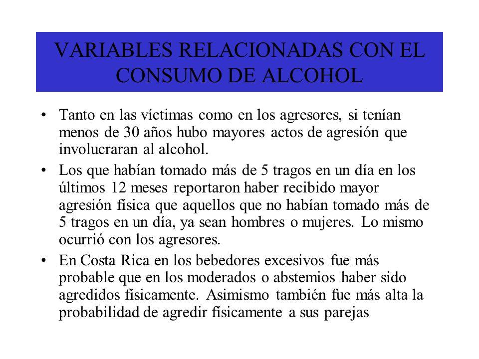 VARIABLES RELACIONADAS CON EL CONSUMO DE ALCOHOL Tanto en las víctimas como en los agresores, si tenían menos de 30 años hubo mayores actos de agresió