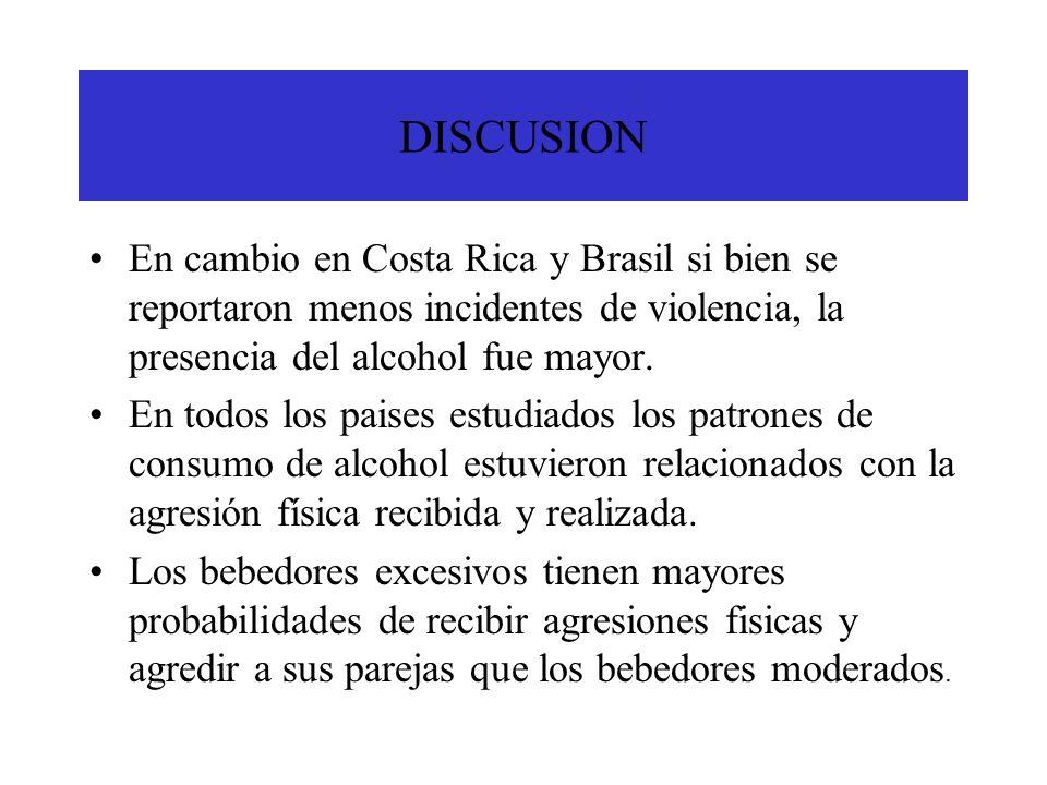 DISCUSION En cambio en Costa Rica y Brasil si bien se reportaron menos incidentes de violencia, la presencia del alcohol fue mayor. En todos los paise
