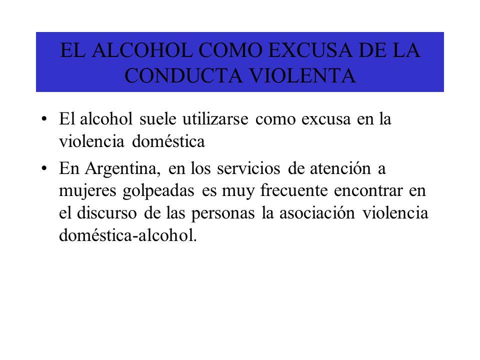 EL ALCOHOL COMO EXCUSA DE LA CONDUCTA VIOLENTA El alcohol suele utilizarse como excusa en la violencia doméstica En Argentina, en los servicios de ate