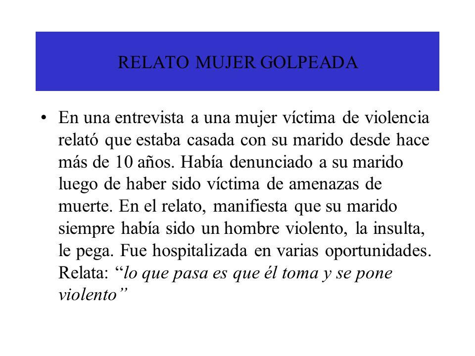 RELATO MUJER GOLPEADA En una entrevista a una mujer víctima de violencia relató que estaba casada con su marido desde hace más de 10 años. Había denun