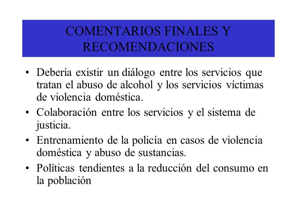 COMENTARIOS FINALES Y RECOMENDACIONES Debería existir un diálogo entre los servicios que tratan el abuso de alcohol y los servicios víctimas de violen